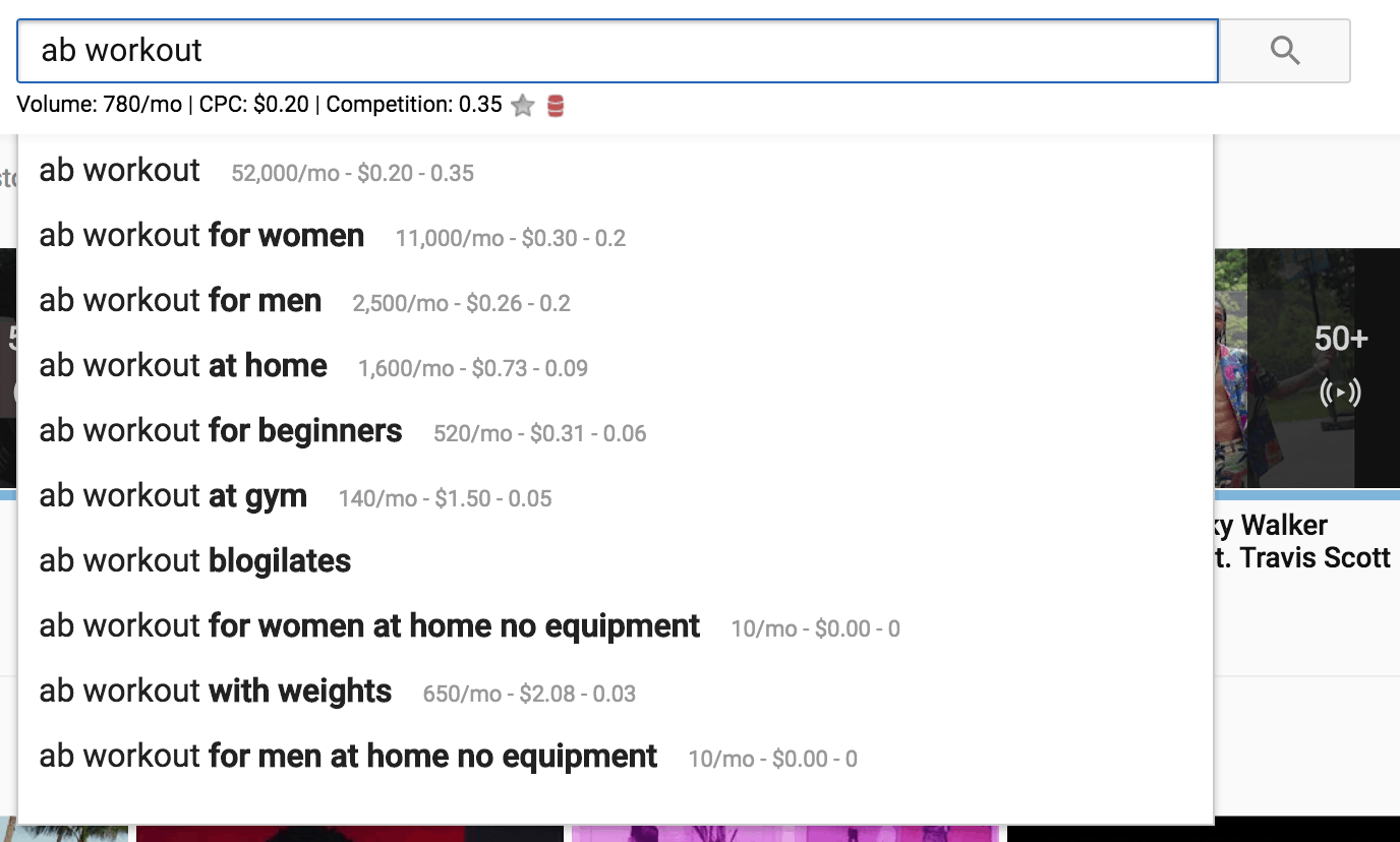 youtube search volume