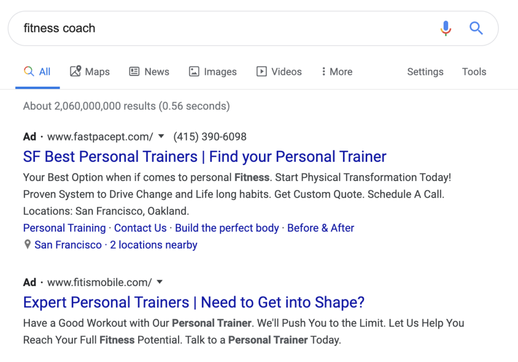 google ads on results