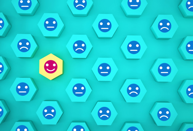 abstract face emotion happiness sadness unique think different individual standing out from crowd wooden hexagon with icon blue background 52494 598 1