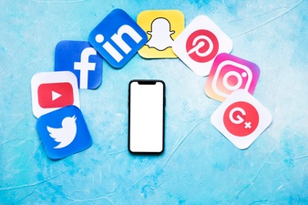 blank cellphone with various social networking paper icons blue backdrop 23 2147841228