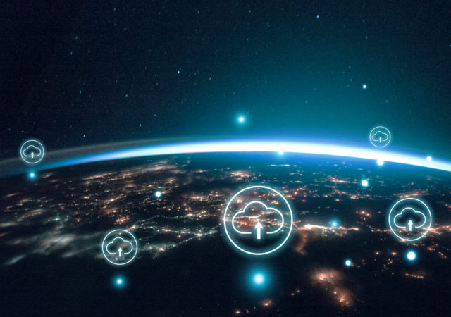 digital world banner background remixed from public domain by nasa